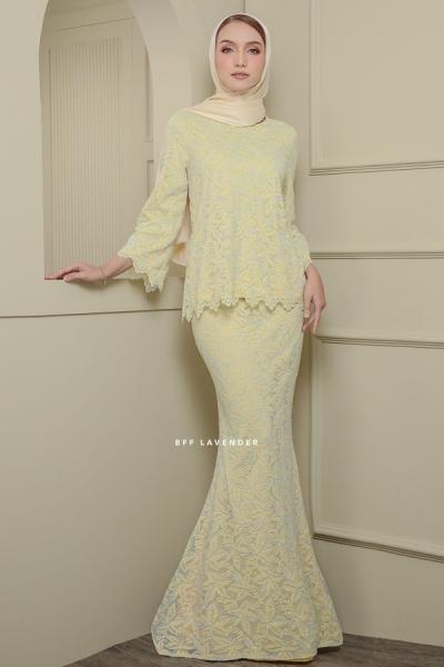 Lacey Blouse Kurung Soft Yellow