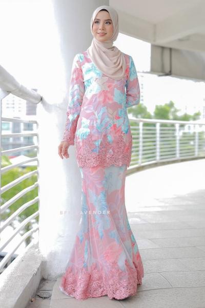Baju Kurung Cinta Lace Dusty Pink/Blue